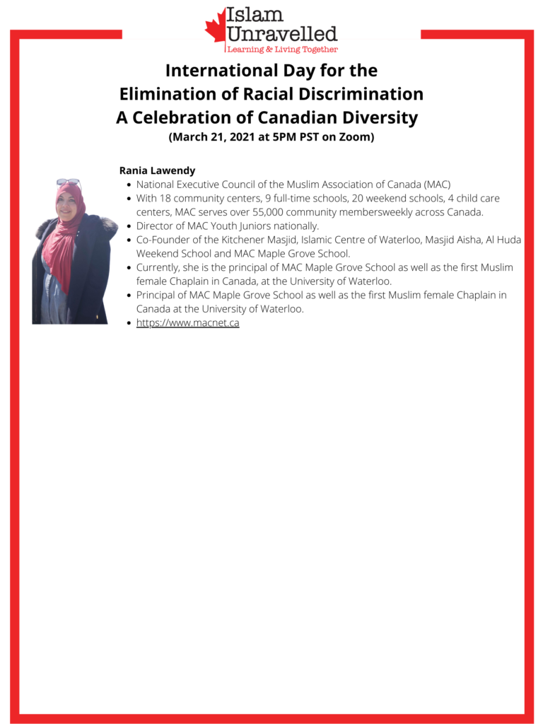 March 21 – International Day for the Elimination of Racial Discrimination